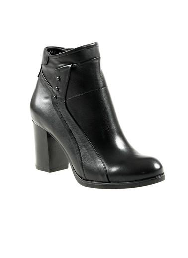 Dr.Flexer 178503 Hakiki Deri Kadın Comfort Bot Sıyah Siyah